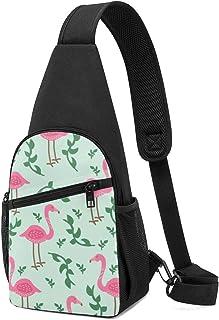 Flamingo - Mochila bandolera con patrón tropical, ligera, para el hombro, mochila para el pecho, bolsa cruzada, para viaje...