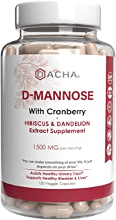 Natural D-Mannose Capsules 4-in-1 Formula - 120 CAPS, 1500 MG Cranberry, Dandelion, Hibiscus Flower Extract, Fast-Acting P...