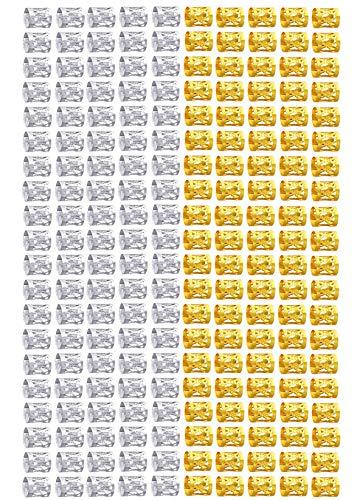 Dreadlocks Accesorios, 200 Piezas Dreadlocks de Bobina de Pelo, Dreadlocks Beads Anillos de Rastas de Aluminio Ajustables Decoración de Pelo Trenzado (Dorado y Plateado)
