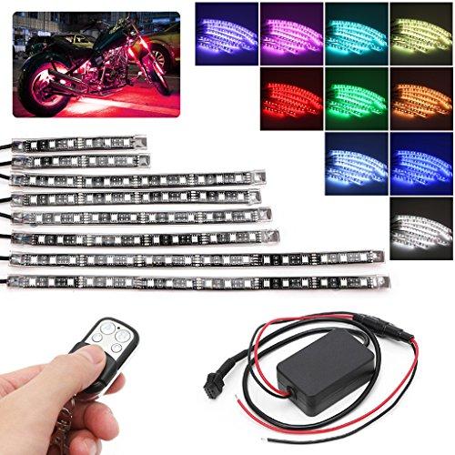FXCO 8 Pcs 5050 SMD Strip Flexible RGB Lumière Clignotante LED Télécommande Moto
