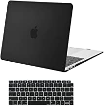 MOSISO Compatible with MacBook Air 13 inch Case 2020 2019 2018 Release A2337 M1 A2179 A1932 Retina Display with Touch ID, Protective Plastic Hard Shell Case & Keyboard Cover Skin, Black