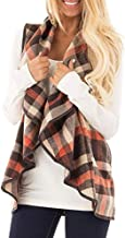 JYK-LQM Womens Casual Lapel Open Front Plaid Vest Cardigan Coat with Pockets