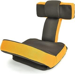 座椅子 ゲームチェア ゲーミングチェア ハイバック マルチリクライニング ゲーム座椅子 「ソリッド」 (ヘッドギア フットギア) 蒸れにくい メッシュ素材 オレンジ色