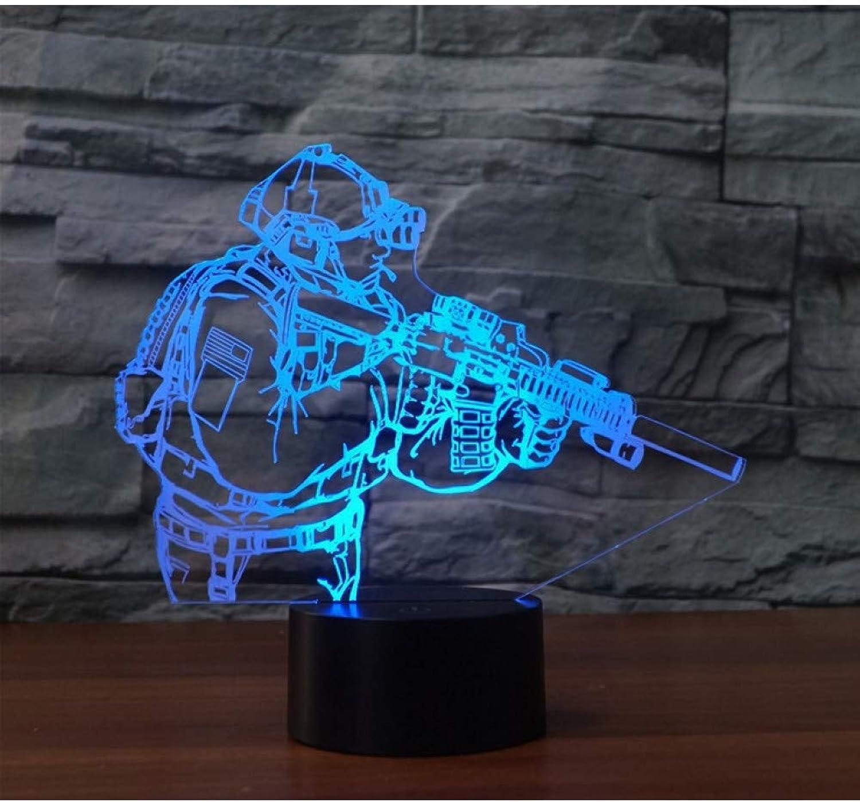 Fdlzz 7 Farbe led 3D nachtlichter USB Touch Schalter Pistole Schreibtisch tischlampe als wohnkultur,Remote und berühren