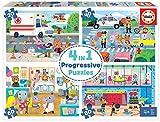 Educa 18903 4 en 1 Héroes en Acción. Puzzles Progresivos Infantiles. 20, 40, 60 y 80 Piezas. +4 años. Ref, Multicolor