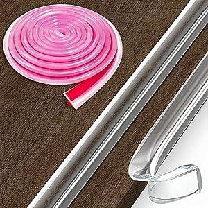 Loiion 100% Silicona Protectores para Esquinas y Bordes, 1M Pre-Adhesivo Transparente Tira Protectora Borde, Anticolisión Tira para Seguridad Bebés y niños, Suave Protectores para Bordes