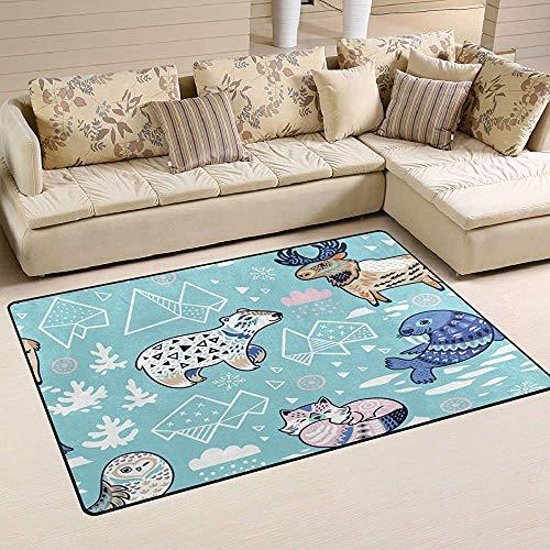 Liz Carter Wald Bär Eule Vogel Tier Teppiche, Badematte rutschfeste Bodenmatte für Fußmatten Wohnzimmer Schlafzimmer 36 x 24 in