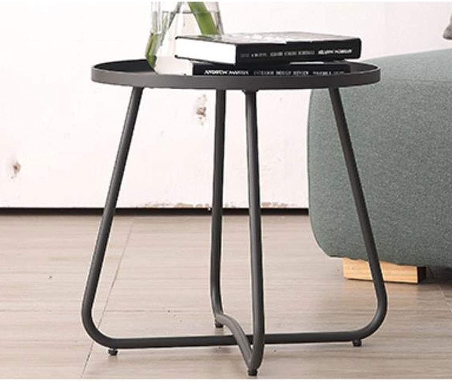 End Table, Small Modern Metal Side Table Coffee Table, Easy to Assemble Living Room Home Sofa Side,45  45  45 cm (color   Black)