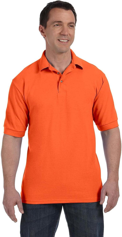 Hanes Stedman Men's 7 Oz. Cotton Pique Polo, Athletic Orange, L