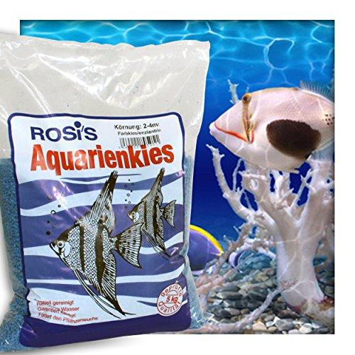 Farbkies Blau Aquarium Deko Kies Aquariengrund Aquariumkies Bodengrund Körnung 2-4 mm 10 kg (2 x 5 kg Beutel)
