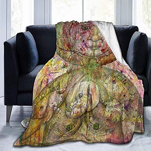 KL Decor flanel gooien dekens, prachtig ontworpen als boven zo onder schilderijen afdrukken bank deken voor volwassenen kinderen camping 102x127cm