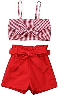 MAFAGE 2PCS Short Set Toddler Baby Girl Halter Outfits Set Bowknot Crop Top Short Pant Summer Clothes Set