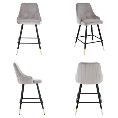 Bar Stools Set of 2 Counter Stools Velvet Barstool Modern Bar Chairs Accent Upholstered Chairs Pub Height Home Bar Dining Kit