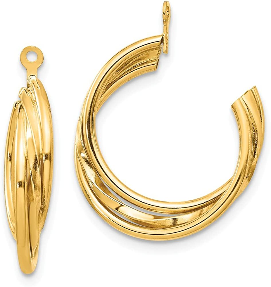 Solid 14k Yellow Gold Hoop Earring Jackets - 23mm x 4mm