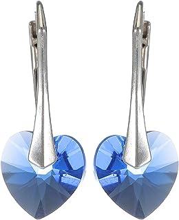 Crystal Diva Women's Silver Blue Clear Swarovski Elements Earrings