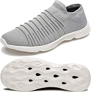Anbenser Mens Walking Shoes Lightweight Knit Slip-on Casual Shoes Non-Slip Outdoor Size 7-16