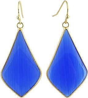 SUNYIK Women's Crystal Stone Dangle Drop Earrings, Rhombus Shape, Gold Plated