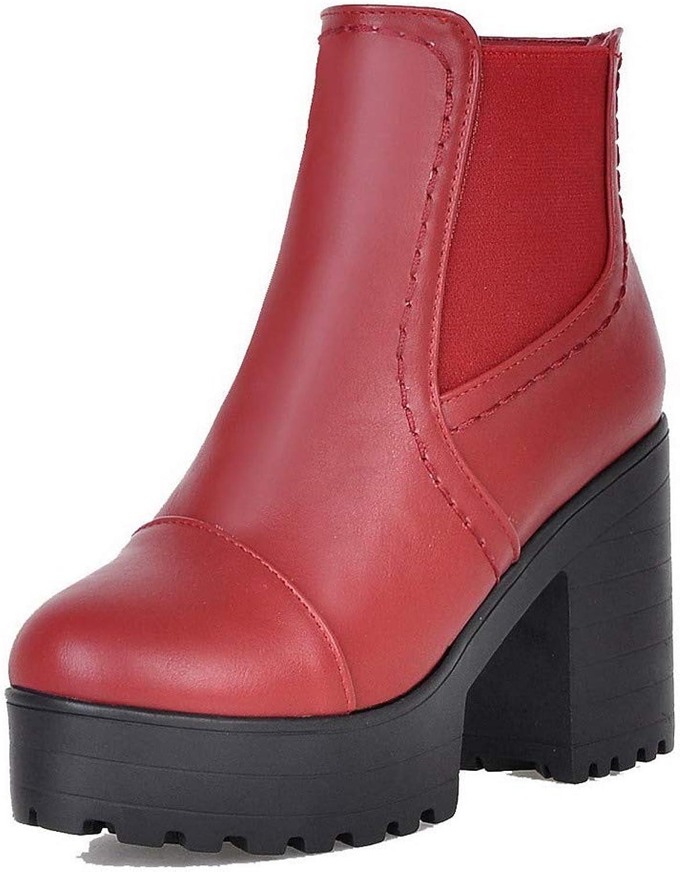 AmoonyFashion Women's Low-Top Solid Zipper Closed-Toe High-Heels Boots, BUSXT008368