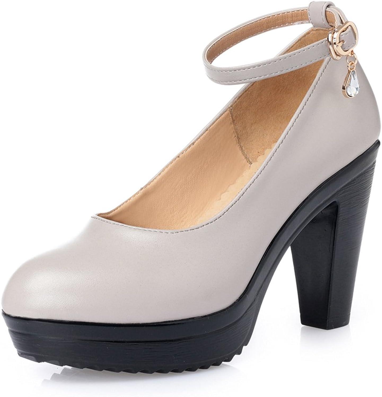 Womens Genuine Leather Buckle High Heel Pumps