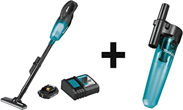 Makita XLC02R1B 18V LXT Lithium-Ion Compact Cordless Vacuum Kit, with one battery (2.0Ah) with 199553-5 Cyclonic Vacuum Attachment
