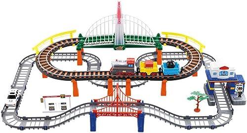 LINGLING-Verfolgen Zug Set Kinderspielzeug Elektrische Bahn Zug Dinosaurier Achterbahn High-Speed-Bahnhof Puzzle Spiel über 3 Jahre alt (Farbe   Charging, Größe   Police Station Track)