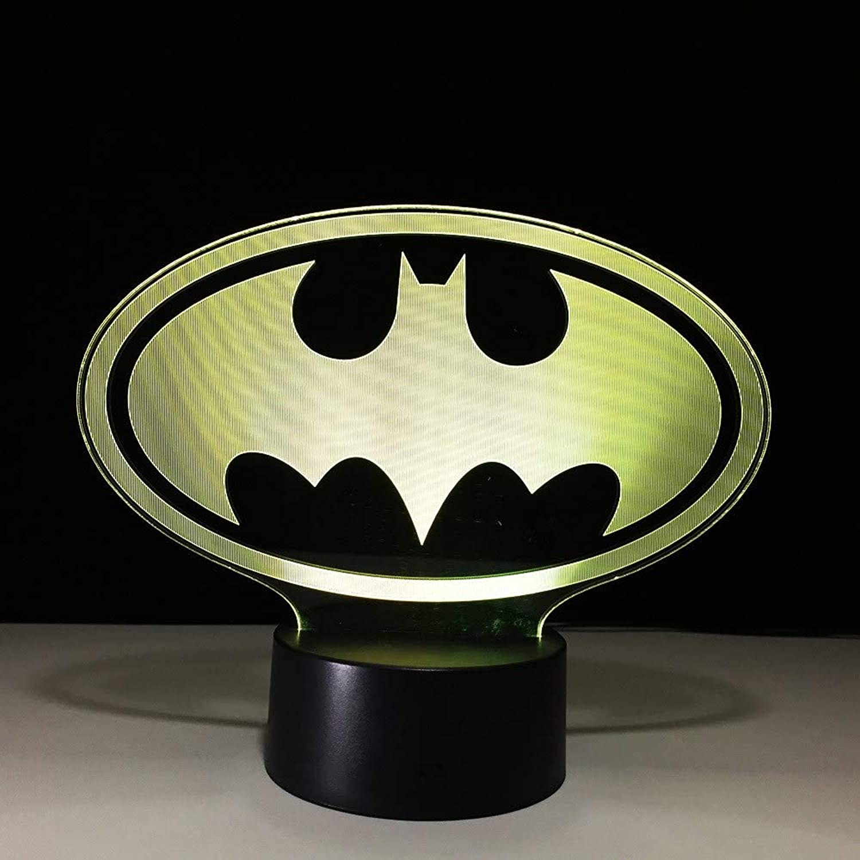 Fsewfs 3D Led Batman Symbol Lamp USB Baby Sleeping Lighting Visual Night Lights Batman Superhero Figure Table Lamp Toys Gifts