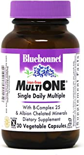 Bluebonnet Nutrition Multi One (Iron Free) Vegetable Capsules, Complete Full Spectrum Multiple, B Vitamins, General Health...