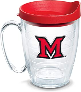 Tervis 1140813 Miami University RedHawks Logo Tumbler with Emblem and Red Lid 16oz Mug, Clear