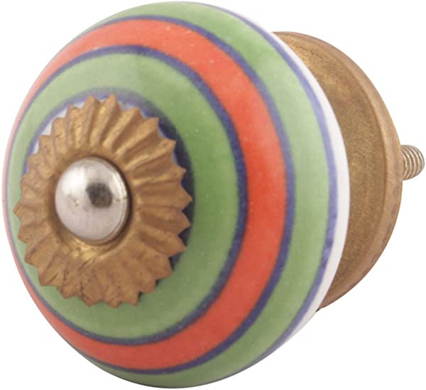 IndianShelf Handmade 4 Piece Ceramic Green Stripe Artistic Rust Free Furniture Knobs And Pulls Decorative Handle