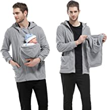 Men Dad Baby Carrier Kangaroo Fleece Long Sleeve Hoodie Jacket Coat
