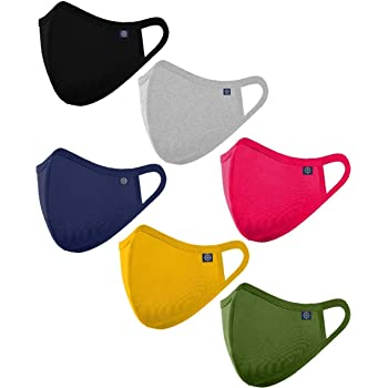 OCEAN RACE Cotton Anti Pollution 3 Layer Reusable Face Mask-Olive,Black,Grey,Red,Navy,Yellow, Pack of (6)