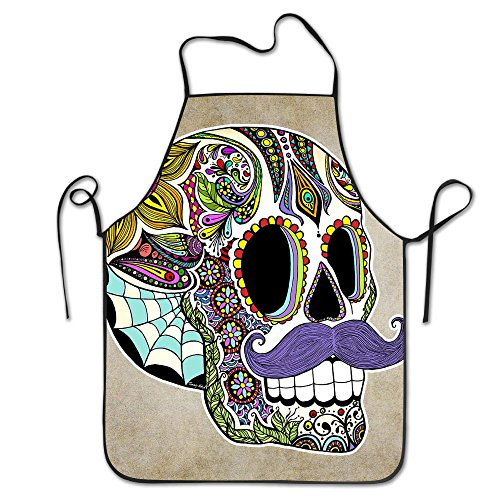 Premium Quality Unisex Kitchen Apron Mustache Sugar Skull Vintage Pattern Professional Chefs Bib Apron Ideal To Cook, Bake, And Grill