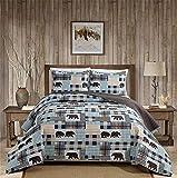 Western Wildlife Southwest Cabin Lodge gesteppte Tagesdecke mit Patchwork der Bären, Büffelkaro & Hahnentritt Plaid Muster in Beige, Braun & Blau (W2 Blau, Full/Queen)