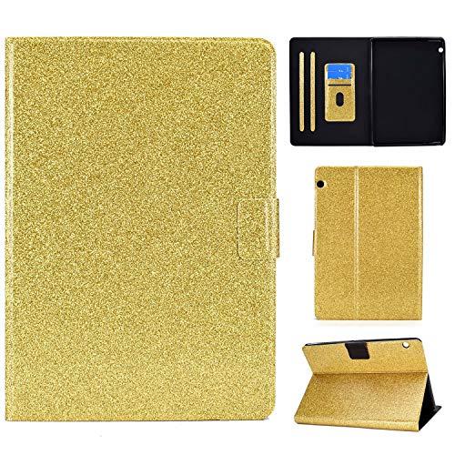 Nadoli PU Leder Glitzer Hülle für Huawei MediaPad T3 10 {9.6 Zoll} 2017,Full Body Brieftasche Slim Schutzhülle Magnetisch Flip Ständer Schale,Gold