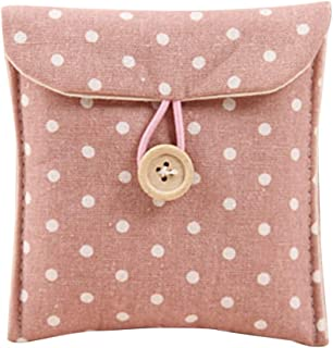 Elenxs Women Girls Linen Small Dot Button Pouch Purse Wallet Coin Purses Organizer Money Key Pouch Case