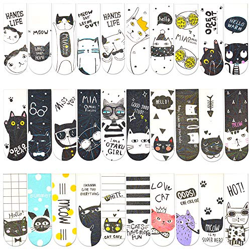 30 Pieces Cute Magnetic Bookmarks Bulk for Women/Men, Dual Sided Rainbow Film Laminated Page Clips, Plain Magnet Page Markers, Cool Paper Bookmarks for Kids Students Reading Giveaways (Cat)