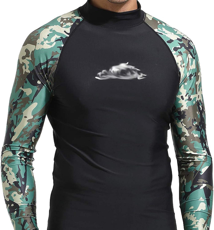 Mens Swim Shirt Diving Camo Rashguard Surf Shirts Beach Swim UV Predection Suit Men's Swimsuit Sunscreen Diving Suit A30410,A,M