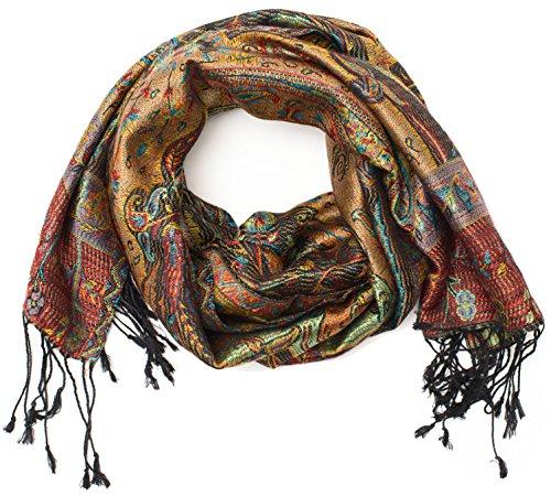 Foulard en 100% soie Pashmina de l'Inde pour femmes et hommes, motif cachemire, 160 x 35 cm - écharpe en soie pure, violet 2