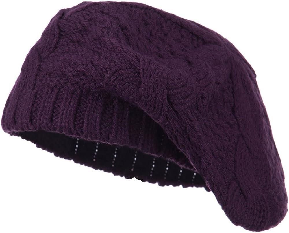 Acrylic Cable Knit Beret - Purple