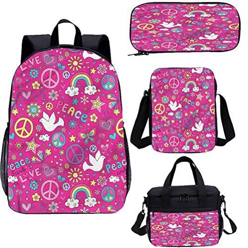 1960s 15' School Book Bag Lunch Bags Set,Mushroom Sunshine with Stars Bookbags 4 in 1