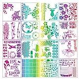 Lirener 16 Stück Grafiken Schablonen, Wiederverwendbar Weich Schablonen, Perfekt für...