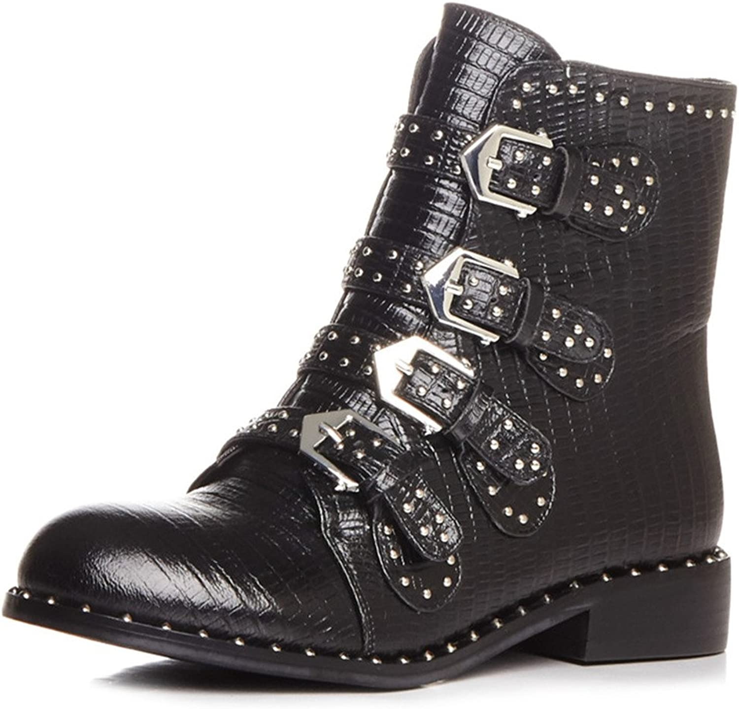 Nine Seven Genuine Leather Women's Round Toe Chunky Heel Buckles Rivets Studded Handmade Ankle Boot