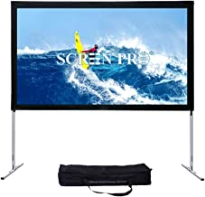 CREENPRO Portable Projector Screen with Stand Outdoor Fast-Folding Movie Screen HD Ultra 4K Ready with Carry Bag for Indoor/Outdoor,Home Theater Camping or Family Trips (16:9, 144