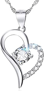 Peora Silver Plated Letter B Heart Pendant for Women Girls