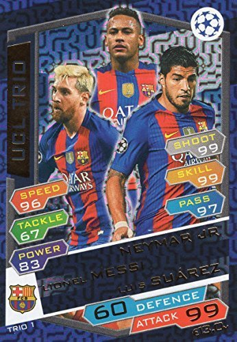 2016/17 MATCH ATTAX CHAMPIONS LEAGUE UCL TRIO KARTE FC.BARCELONA MESSI, NEYMAR, SUAREZ
