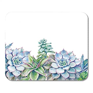 Emvency Mouse Pads Flower Watercolor Succulents Hand Green Plants on White Artistic Floral Border Mousepad 9.5
