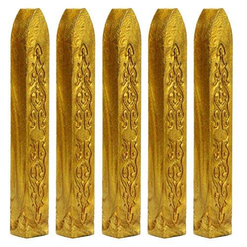 Mchoice 5PCS Vintage Manuscript Sealing Seal Wax Sticks Wicks for Postage Letter (Gold)