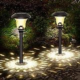 Luces Solares Jardín, 2 Pcs IP65 LED Lampara Solares Jardín, Impermeable Energía Solar Luces Jardín, Acero...