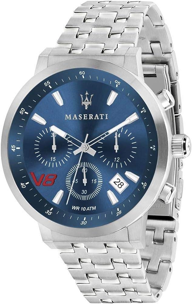 Maserati orologio da uomo, collezione gt,cronografo, in acciaio 8033288815716