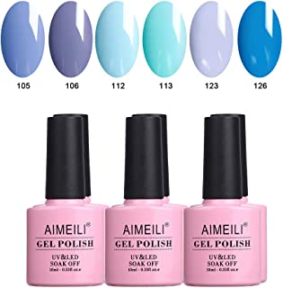 AIMEILI Soak Off UV LED Gel Nail Polish Multicolour/Mix Colour/Combo Colour Set Of 6pcs X 10ml - Kit Set 32